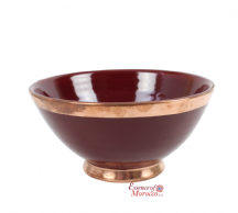 Moroccan Ceramic Bowl Antiqued Burgundy with Copper Edge Large Handmade 20 cm / 8""